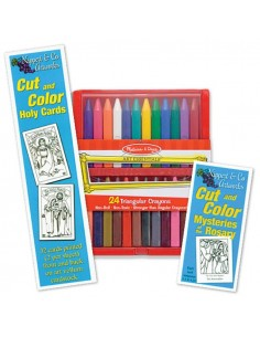 Cut and Color Saint and Rosary Card Sets w/ Crayons