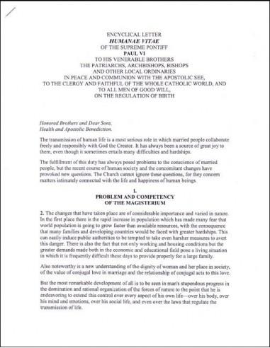 Humanae Vitae (Papal Encyclical)