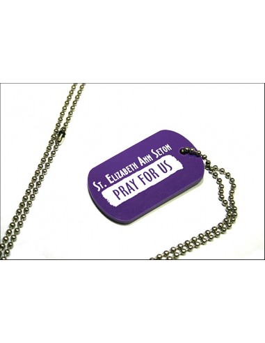 "Dog Tag - Purple ""St. Eliz. Ann Seton Pray for Us"""