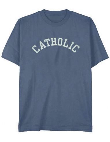 """T-Shirt """"Catholic"""" Heather Indigo - Adult Large"""