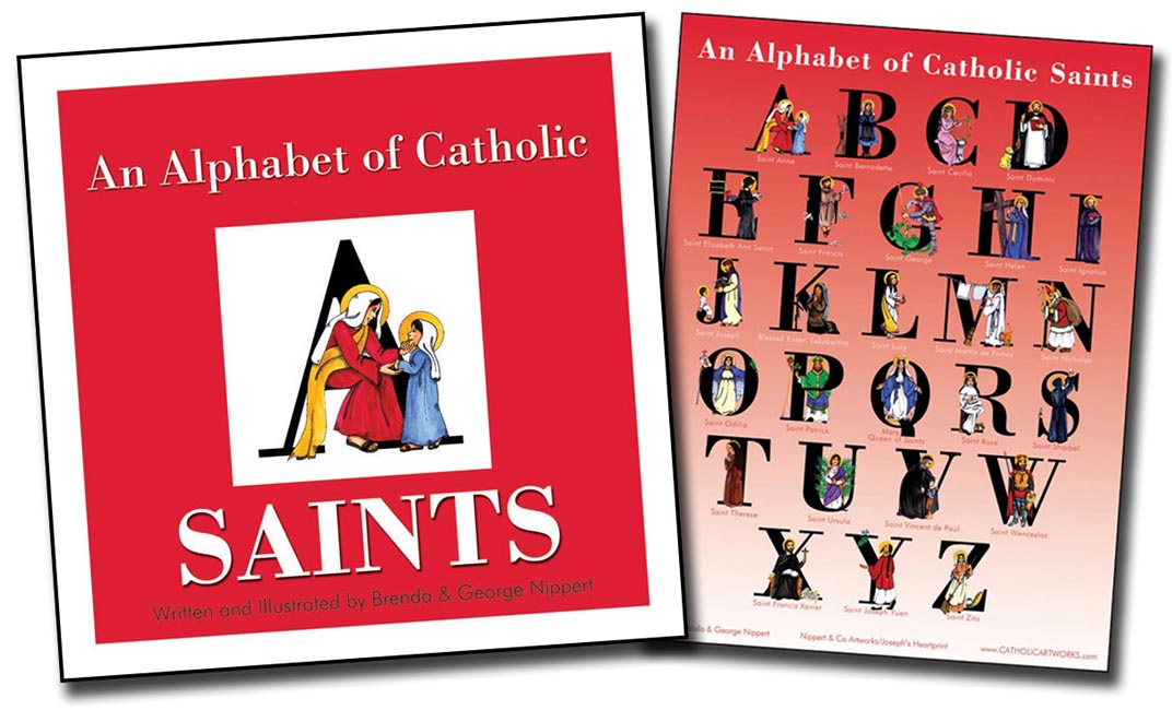 An Alphabet of Catholic Saints (Book and Poster Set)