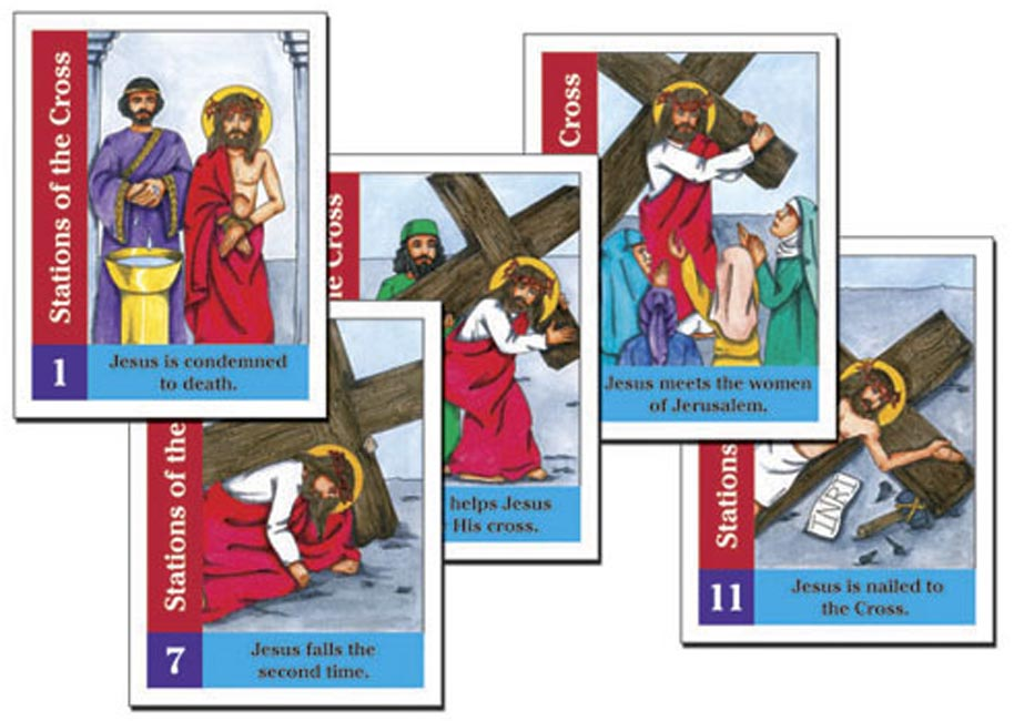 photograph about Printable Stations of the Cross titled Stations of the Cross Poster Playing cards