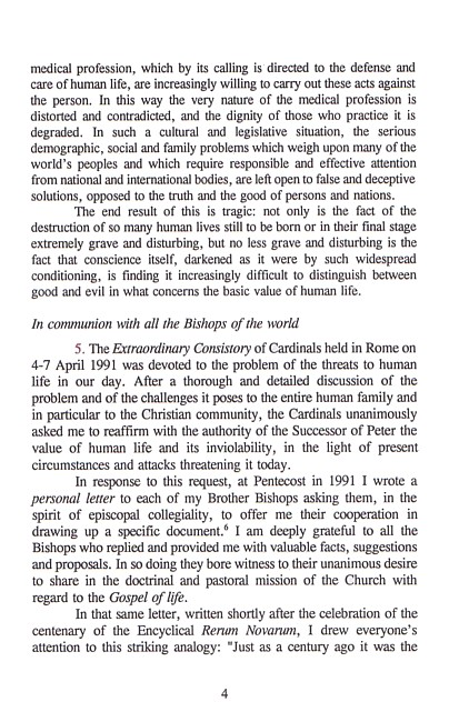 Evangelium vitae or the gospel of life essay