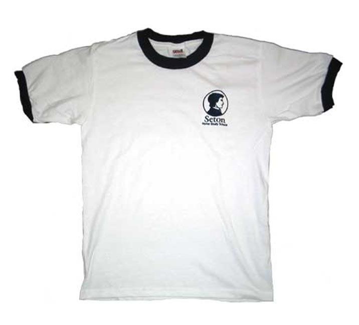 T-Shirt, White w/Seton Logo Adult (Small)