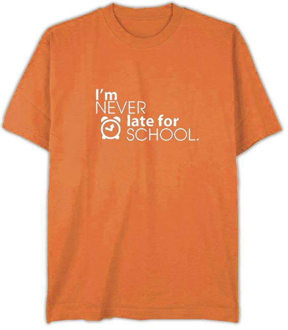 "T-Shirt ""Never Late"" Orange - Child Small"