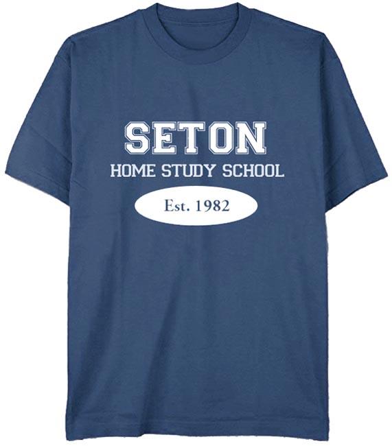 Seton T-Shirt: Est. 1982 Indigo Blue - Adult Medium