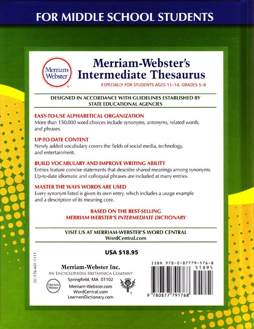 Preview Merriam-Webster's Intermediate Thesaurus (Grades 5 ...